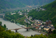 Cochem city panorama. View from Reichsburg Castle Royalty Free Stock Images