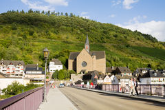 Cochem cityscape with the Saint Remaclus's Church Stock Photography