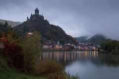 Cochem on a foggy morning, Germany, Europe stock photography