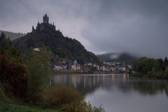 Cochem on a foggy morning, Germany, Europe royalty free stock photos