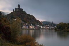 Cochem on a foggy morning, Germany, Europe royalty free stock image