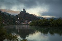 Cochem on a foggy morning, Germany, Europe royalty free stock photo