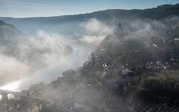 Cochem on a foggy morning, Germany, Europe stock photos