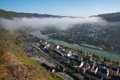 Cochem on a foggy morning, Germany, Europe stock images