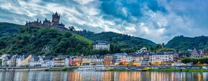 Cochem Imperial Castle on Hillside and Moselle River Royalty Free Stock Image