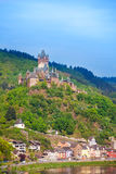 Cochem Imperial Castle, mountain and Mosel river Stock Photography