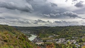 Cochem town timelapse in autumn on cloudy sky stock video