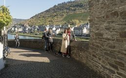 Cochem Viewpoint, Germany. Tourists enjoying the view of the River Moselle at Cochem, Germany royalty free stock image