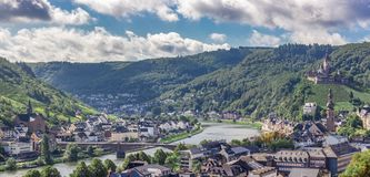 Cochem Village with Imperial Castle on Hillside stock images