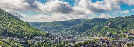 Cochem Village with Imperial Castle on Hillside Stock Image