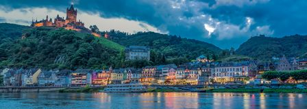 Cochem Imperial Castle on Hillside and Moselle River royalty free stock photography