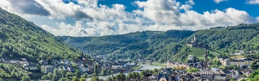 Cochem Village with Imperial Castle on Hillside royalty free stock images