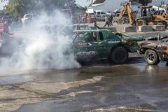 Coches arruinados durante la demolición derby Fotografía de archivo libre de regalías