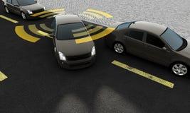 Coches autónomos en un camino con la conexión visible ilustración del vector