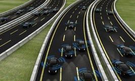Coches autónomos en un camino, representación 3d libre illustration