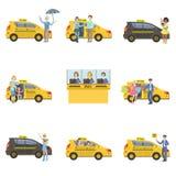 Coches, conductores y clientes del taxi fijados Fotografía de archivo libre de regalías