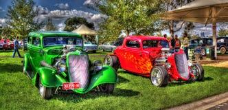 2 coches de carreras americanos Imagen de archivo libre de regalías