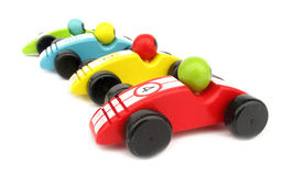 Coches de carreras de madera de los juguetes Imagen de archivo libre de regalías