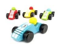 Coches de carreras de madera de los juguetes Imagen de archivo