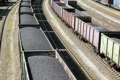 Coches de carril cargados con el carbón Fotografía de archivo