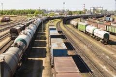Coches de carril cargados con el carbón Imagen de archivo libre de regalías