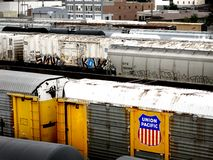 Coches de ferrocarril pacíficos de la unión Foto de archivo libre de regalías