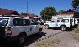 Coches de la O.N.U - parque de motor Imagen de archivo