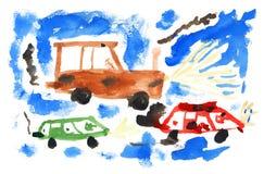 Coches de la pintura de los niños libre illustration