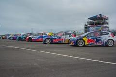 Coches de la reunión en Red Bull GRC Rallycross global Foto de archivo libre de regalías