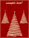 Coches de los cristmas del saludo con tres árboles de navidad Fotos de archivo libres de regalías