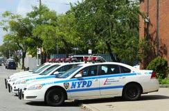 Coches de NYPD en Brooklyn, NY Foto de archivo libre de regalías