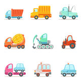 Coches de trabajo del servicio público, de la construcción y del camino fijados de Toy Cartoon Icons colorido Fotografía de archivo libre de regalías