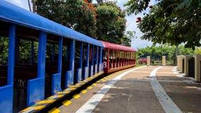 Coches de tren coloridos en un día soleado Fotos de archivo