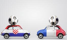 Coches del fútbol de Francia y de Croacia Foto de archivo libre de regalías