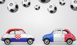 Coches del fútbol de Francia y de Croacia Fotografía de archivo libre de regalías