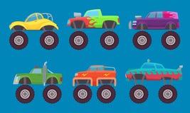 Coches del monster truck Los automóviles con el juguete auto de la criatura de las ruedas grandes para los niños vector las imáge libre illustration