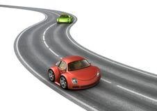 Coches del rojo del verde de la raza de camino Imágenes de archivo libres de regalías