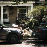 2 coches delante de casas con basura foto de archivo