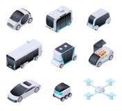 Coches Driverless Vehículos elegantes futuros Transporte acobardado de la ciudad, camión autónomo y abejón Vector isométrico aisl ilustración del vector