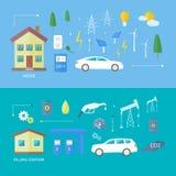 Coches eléctricos y coche de la gasolina Fotografía de archivo libre de regalías