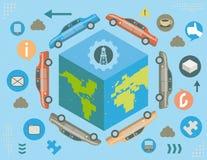 Coches globales y concepto de la energía stock de ilustración