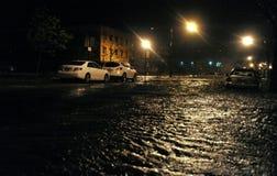Coches inundados, causados por Hurricane Sandy foto de archivo