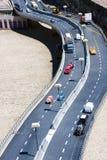 Coches Mini Tiny del tráfico de autopista de Higway Imagen de archivo libre de regalías