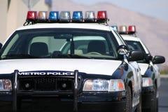Coches policía del metro Imagenes de archivo