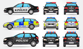 Coches policía - lado - frente - visión trasera Imágenes de archivo libres de regalías