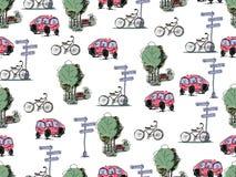 Coches y bicicletas dibujados mano del vector Modelo inconsútil Fotografía de archivo