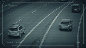 Coches y camiones del CCTV en autopista sin peaje libre illustration