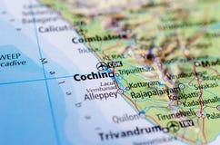 Cochin на карте стоковые фотографии rf