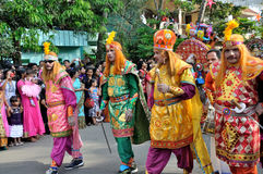 Cochin Carnival 2015. The Cochin Carnival is Fort Cochin's biggest bash, a 10-day festival culminating on New Year's Eve. Street parades, colourful costumes stock images