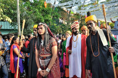 Cochin Carnival 2015. The Cochin Carnival is Fort Cochin's biggest bash, a 10-day festival culminating on New Year's Eve. Street parades, colourful costumes Royalty Free Stock Photos